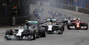 Mercedes Formula One driver Rosberg of Germany leads at the first curve during the Monaco F1 Grand Prix