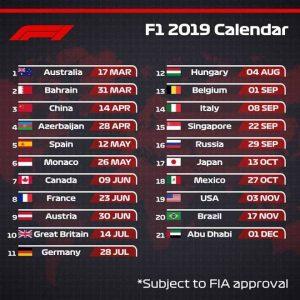 La FIA publica los horarios oficiales de todos los Grandes Premios del Mundial de Fórmula 1 - 2019