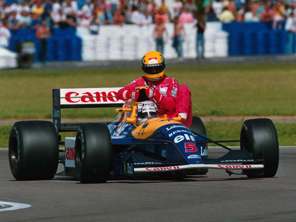 Wallpaper Nigel Mansell Gives Ayrton Senna A Ride1 F1 En